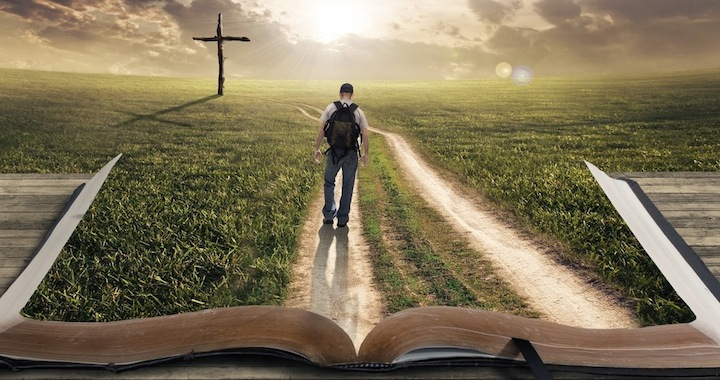 Man walking on Bible